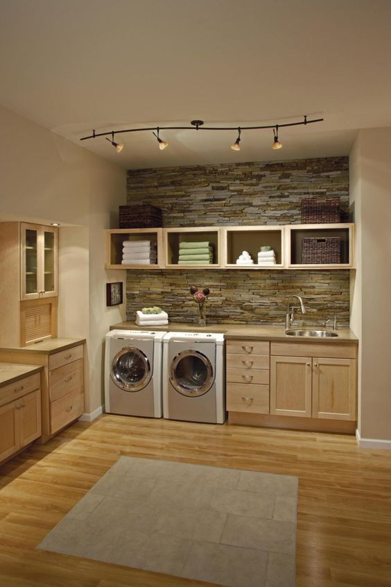 27 Stylish Basement Laundry Room Ideas for Your House ... on Laundry Room Cabinets Ideas  id=22183
