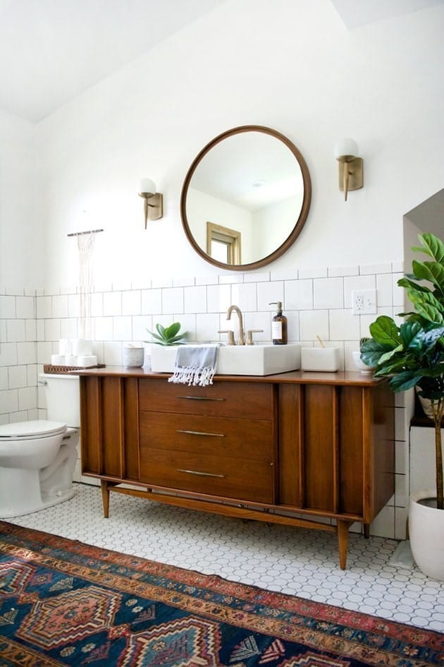 Include some wood furniture in your bathroom