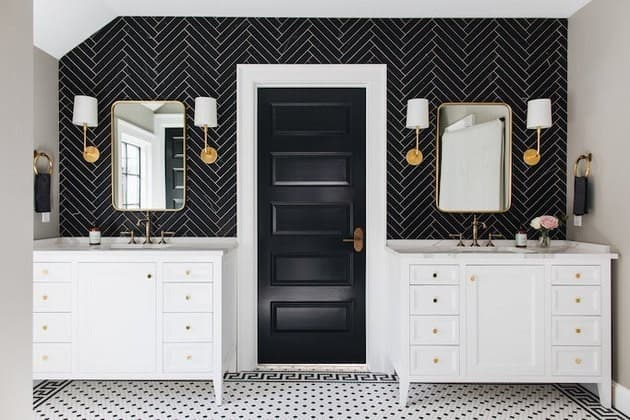 Mix and match patterns in your bathroom.