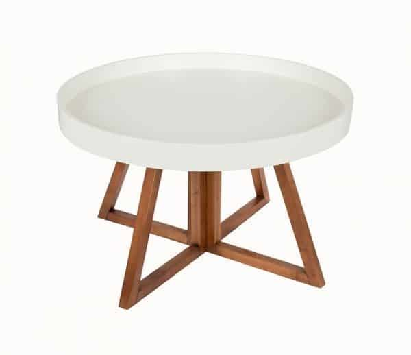 Small Mid-Century Style Tray Coffee Table: - Round: