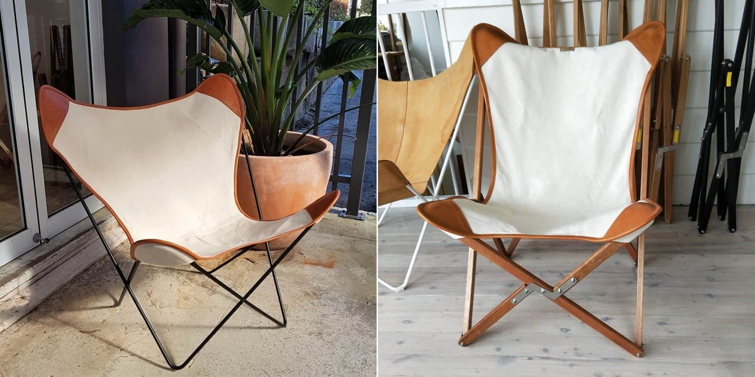 A BUTTERFLY CHAIR WITH DUAL MATERIALS