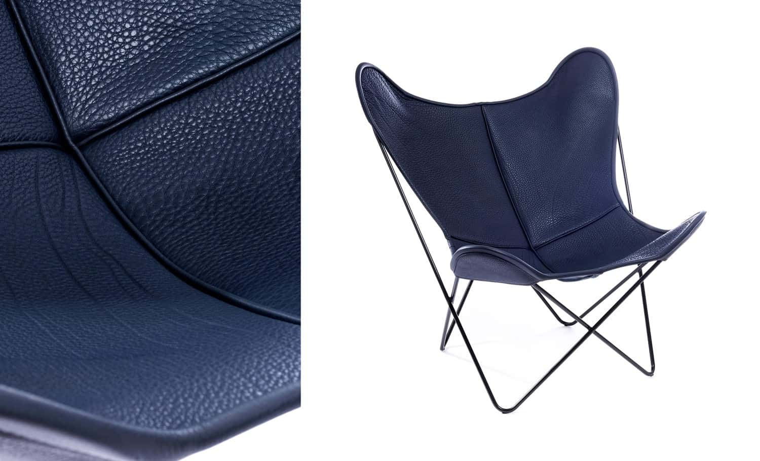 A MIDNIGHT BLUE TEXTURED LEATHER CHAIR
