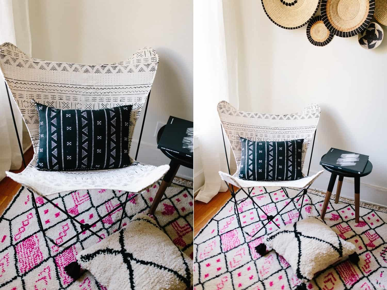 A TRIBAL PRINT BUTTERFLY CHAIR