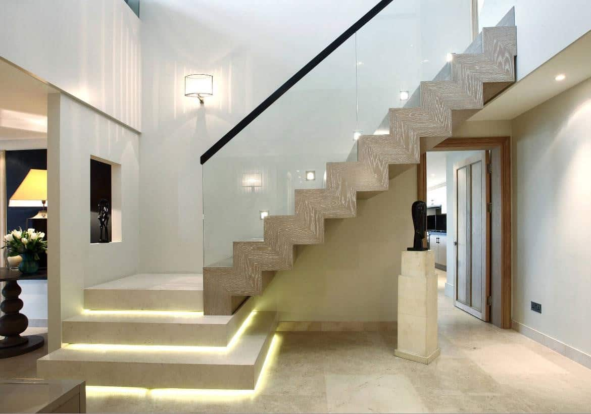 A Concrete Staircase with Lit Stair Risers