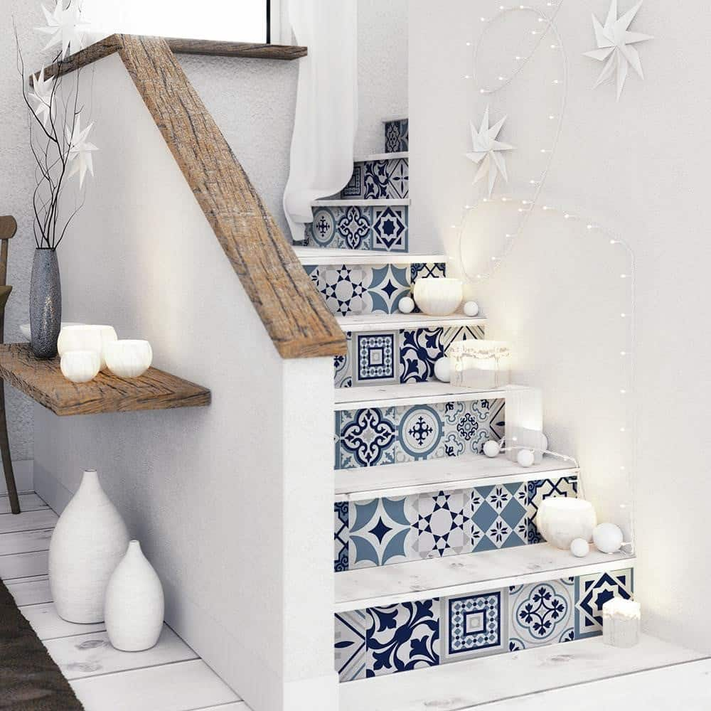A Staircase with Spanish Tiles
