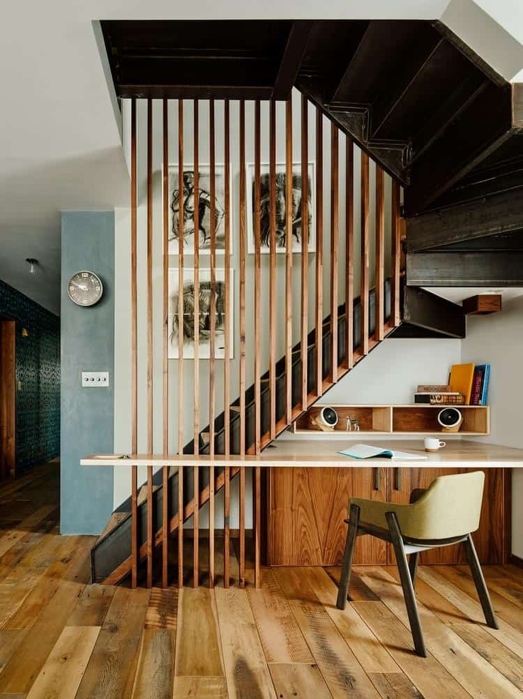 A Staircase with a Wood Screen