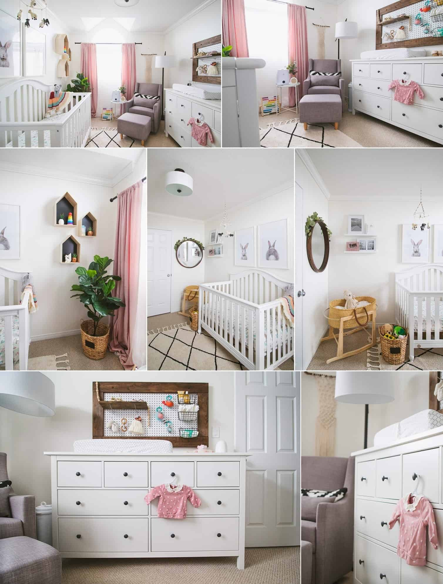 A Baby Girl's Nursery with a Pegboard