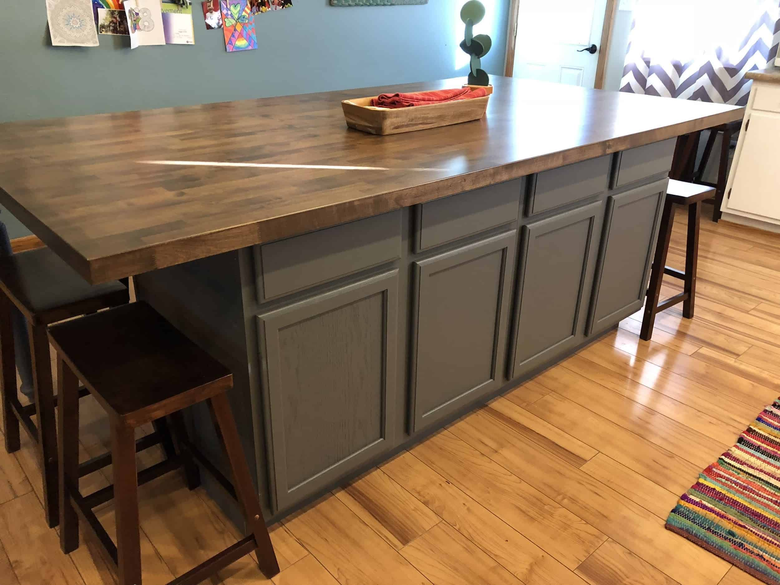 A Kitchen Island Made From Stock Cabinets