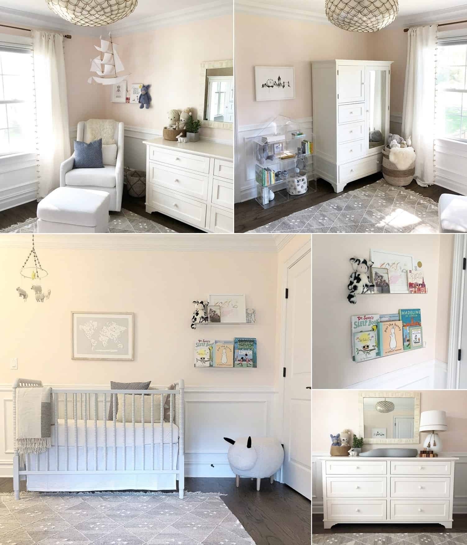 A Light Pink, Pale Gray, and White Baby Girl's Nursery