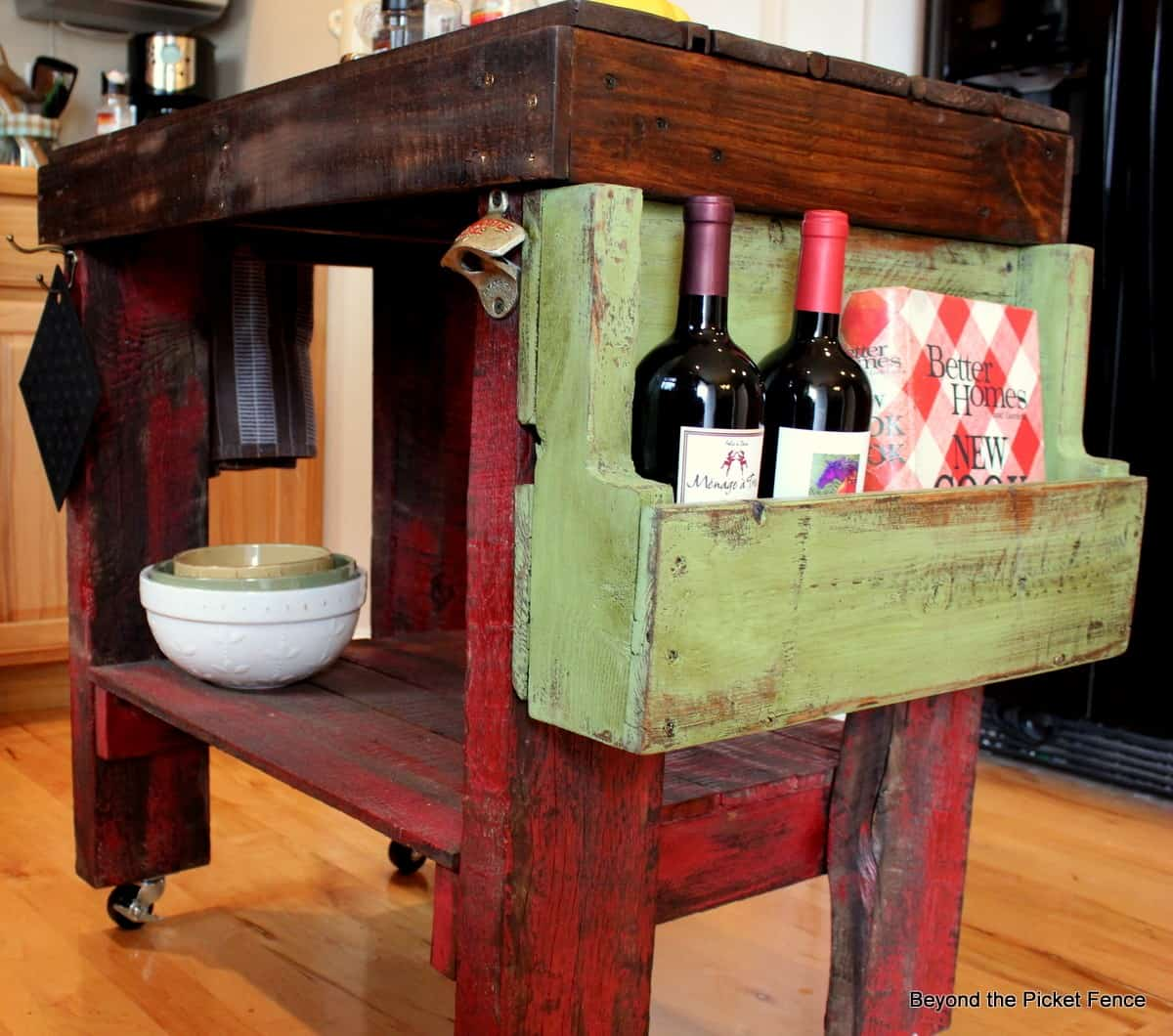 A Reclaimed Pallet Wood Kitchen Island