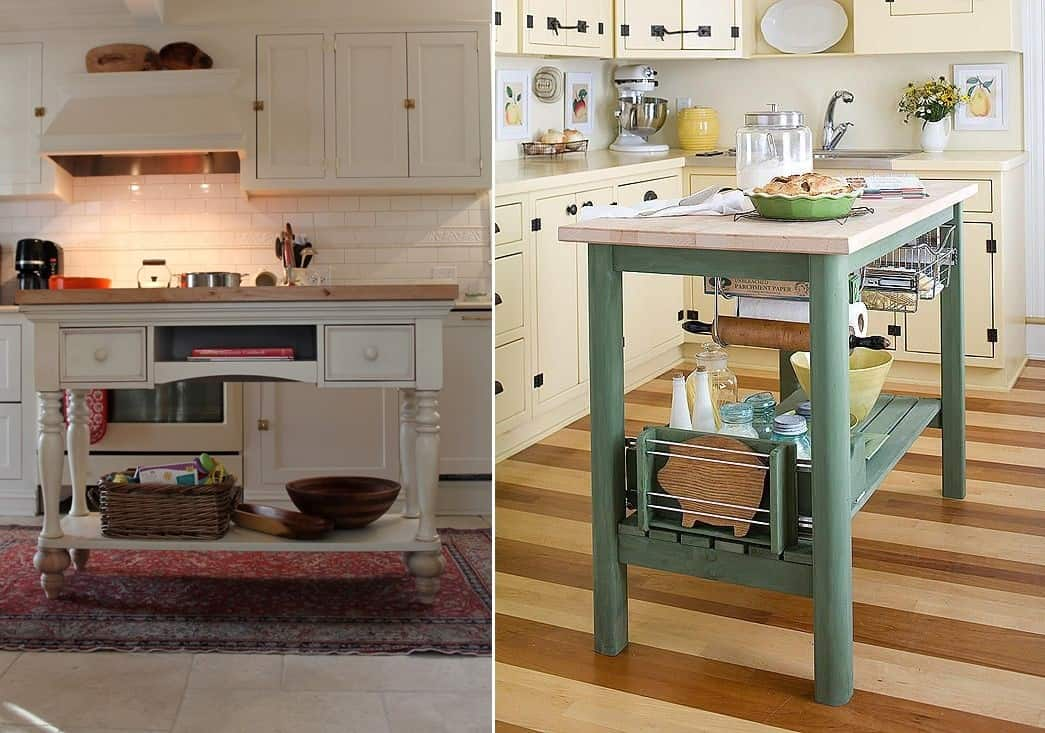 Re-purposed Table Kitchen Islands