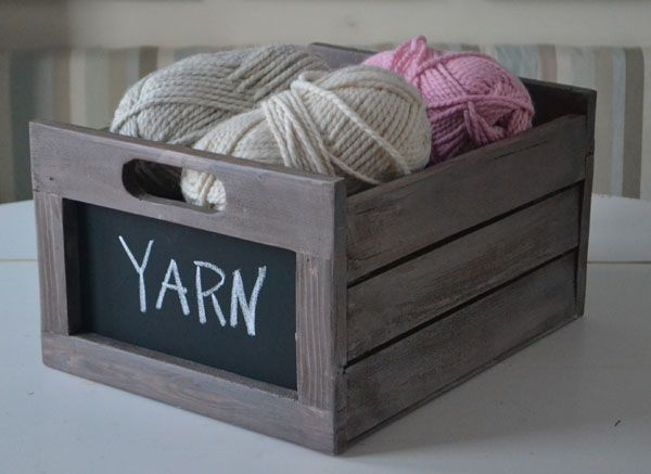 Create Yarn Storage Cabinets with Stack Wooden Crates