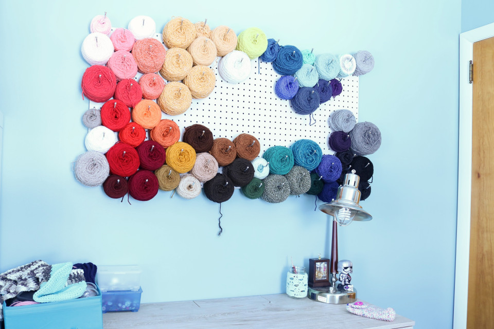 Using Pegboard to Store Yarn on a Wall