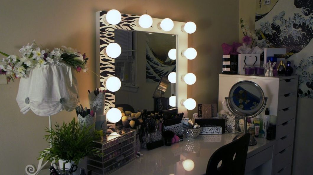 Made Vanity Mirror with a Zebra Print