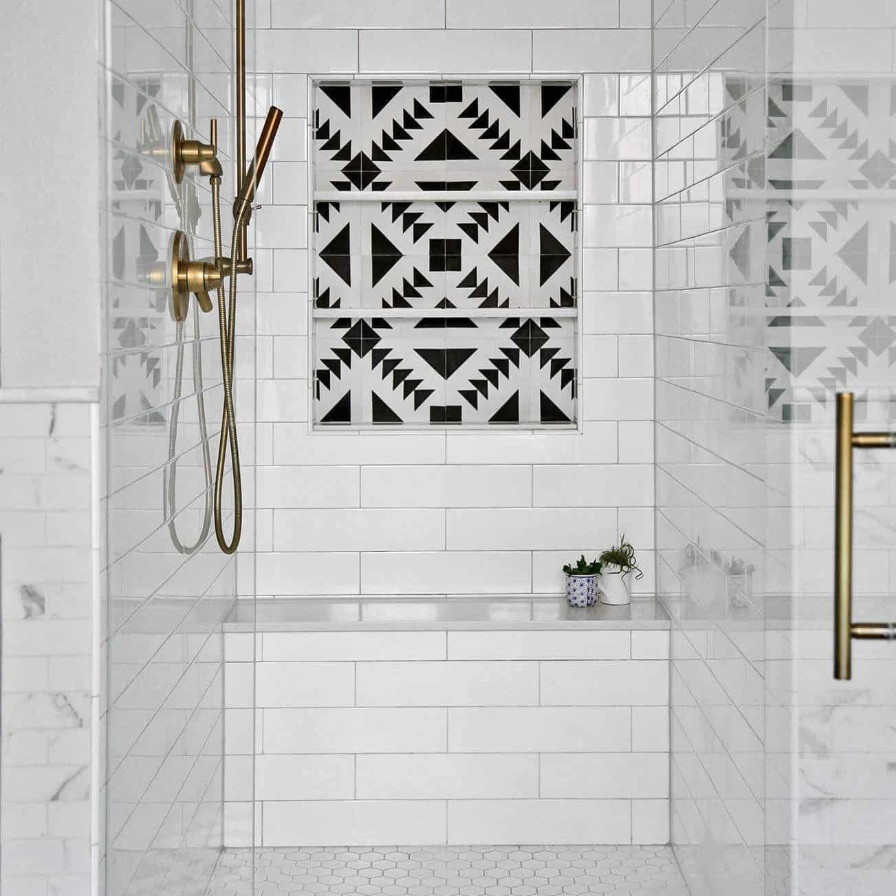 Subway Tiles with a Black and White Tile