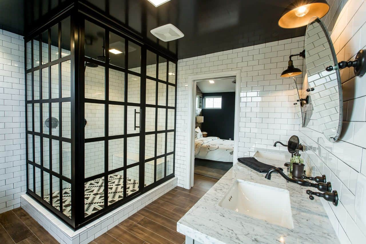White Subway Tile Walls with a Black and White