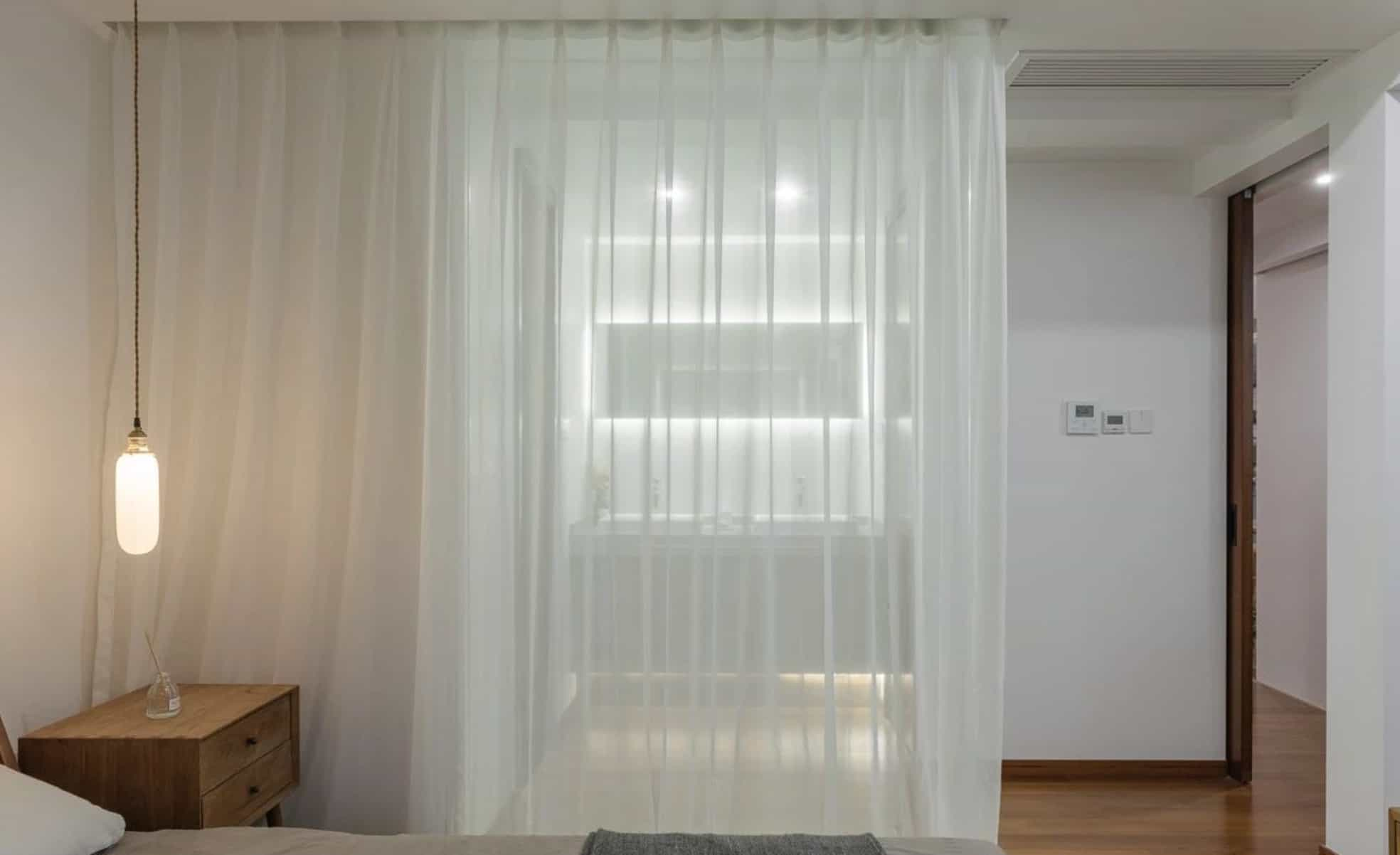 floor-to-ceiling curtains