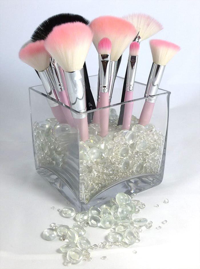 DIY A Glass with Decorative Stones Brush Holder