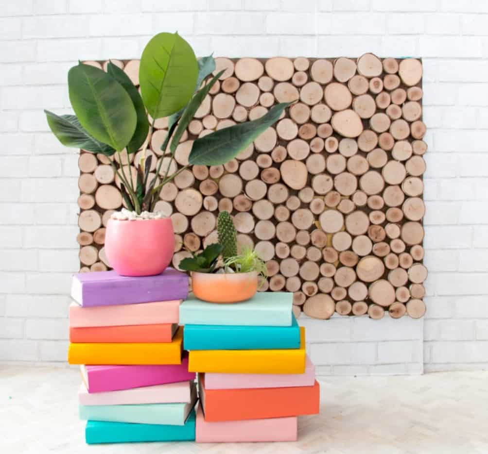 DIY Colored Books Stand Plant Ideas