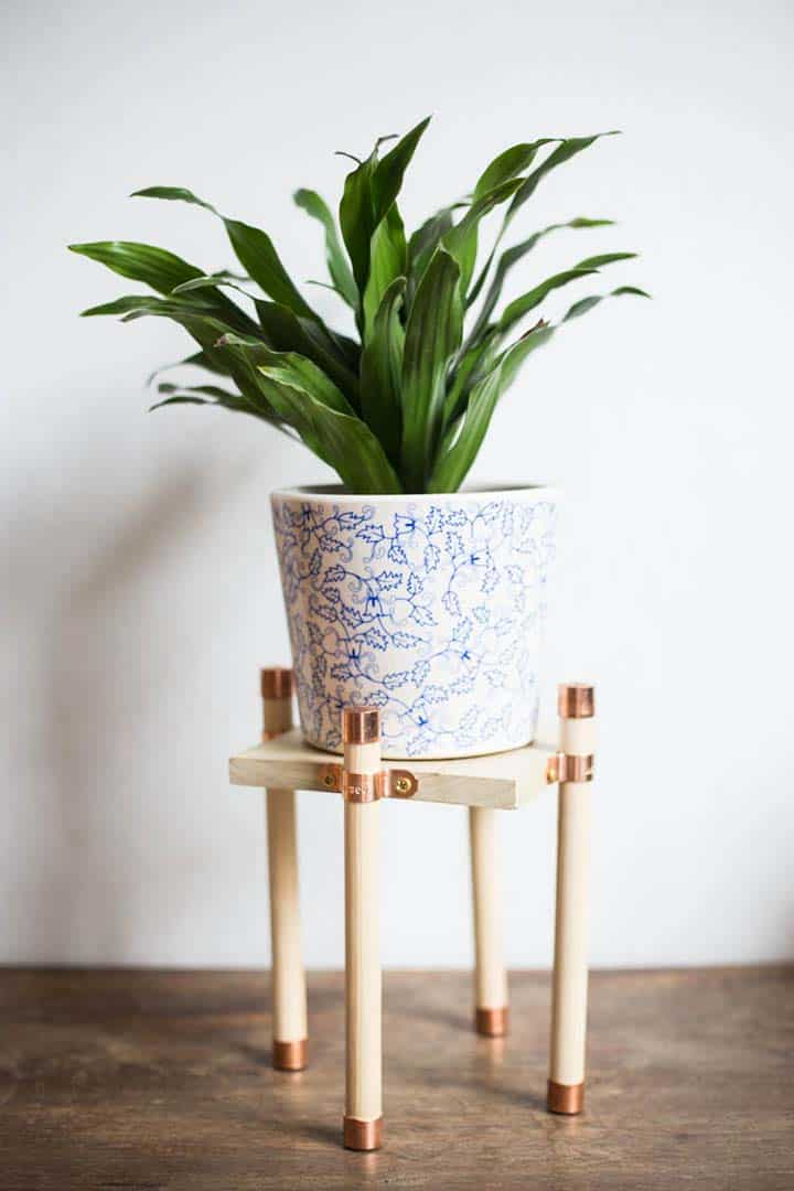 DIY Wood and Copper Plant Stand