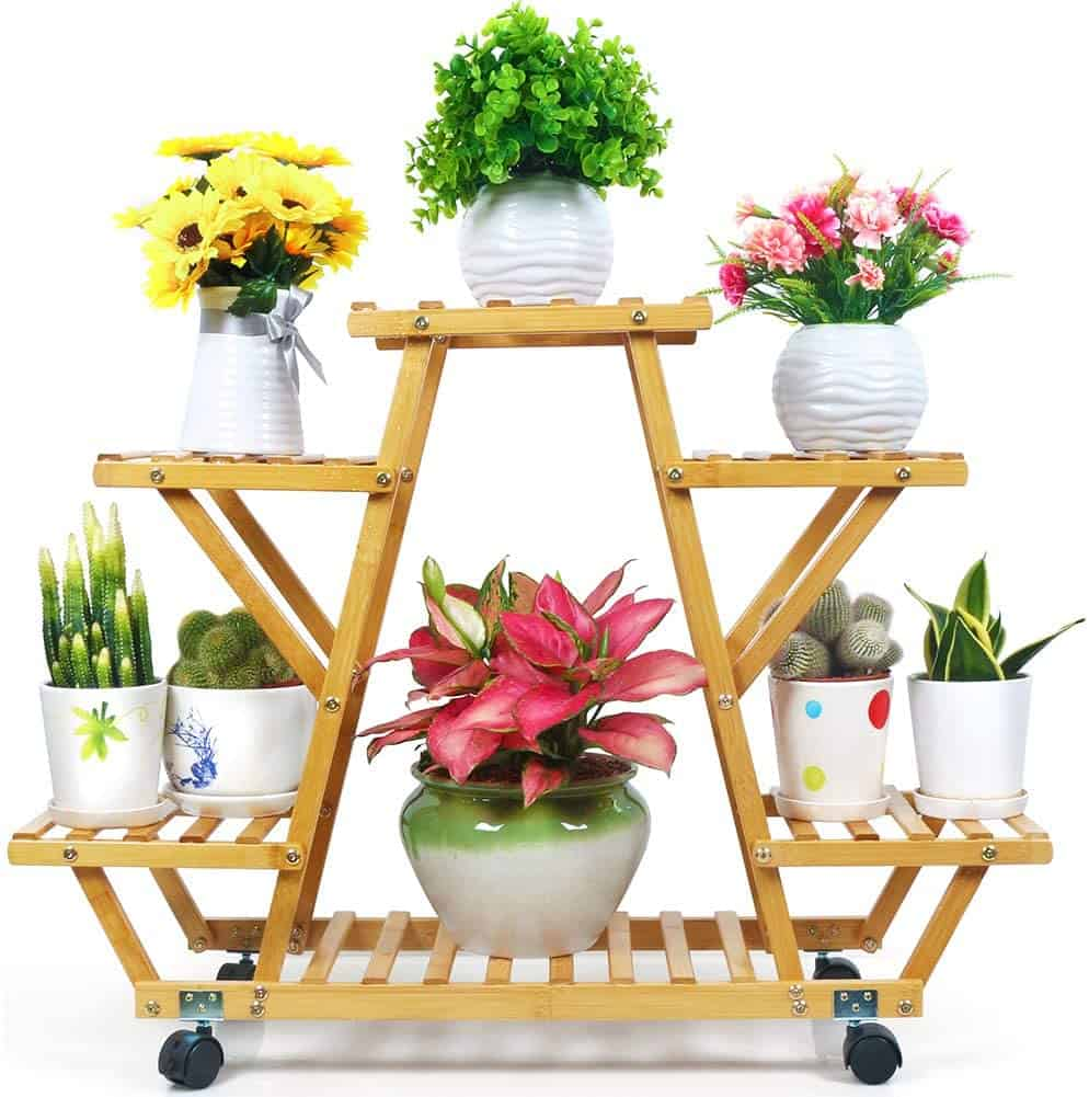 DIY wheeled plant stand