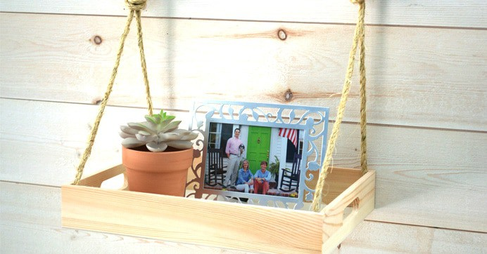 Floating Wooden Crate and Rope Coner Shelf