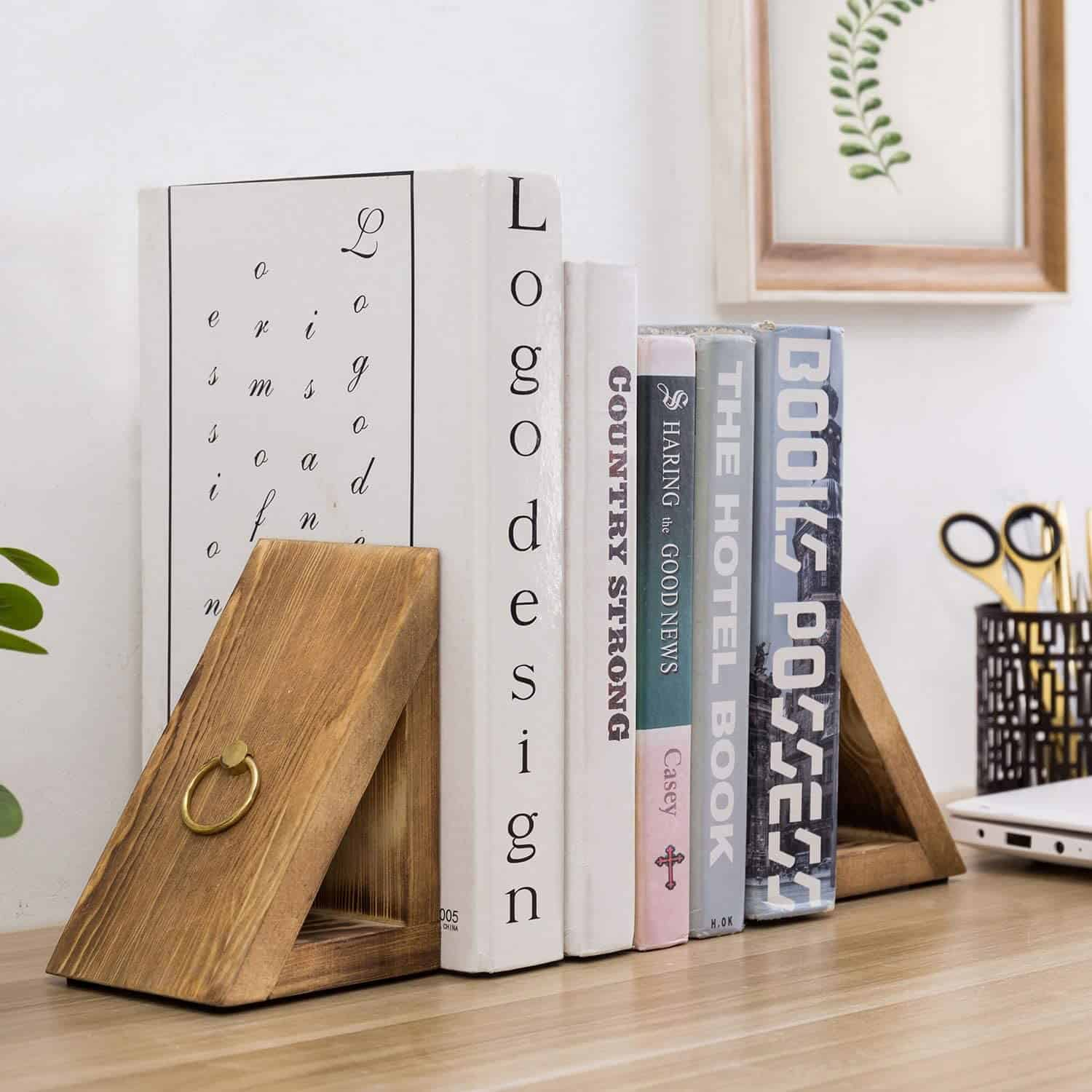 Striped Wooden Pyramid Bookends