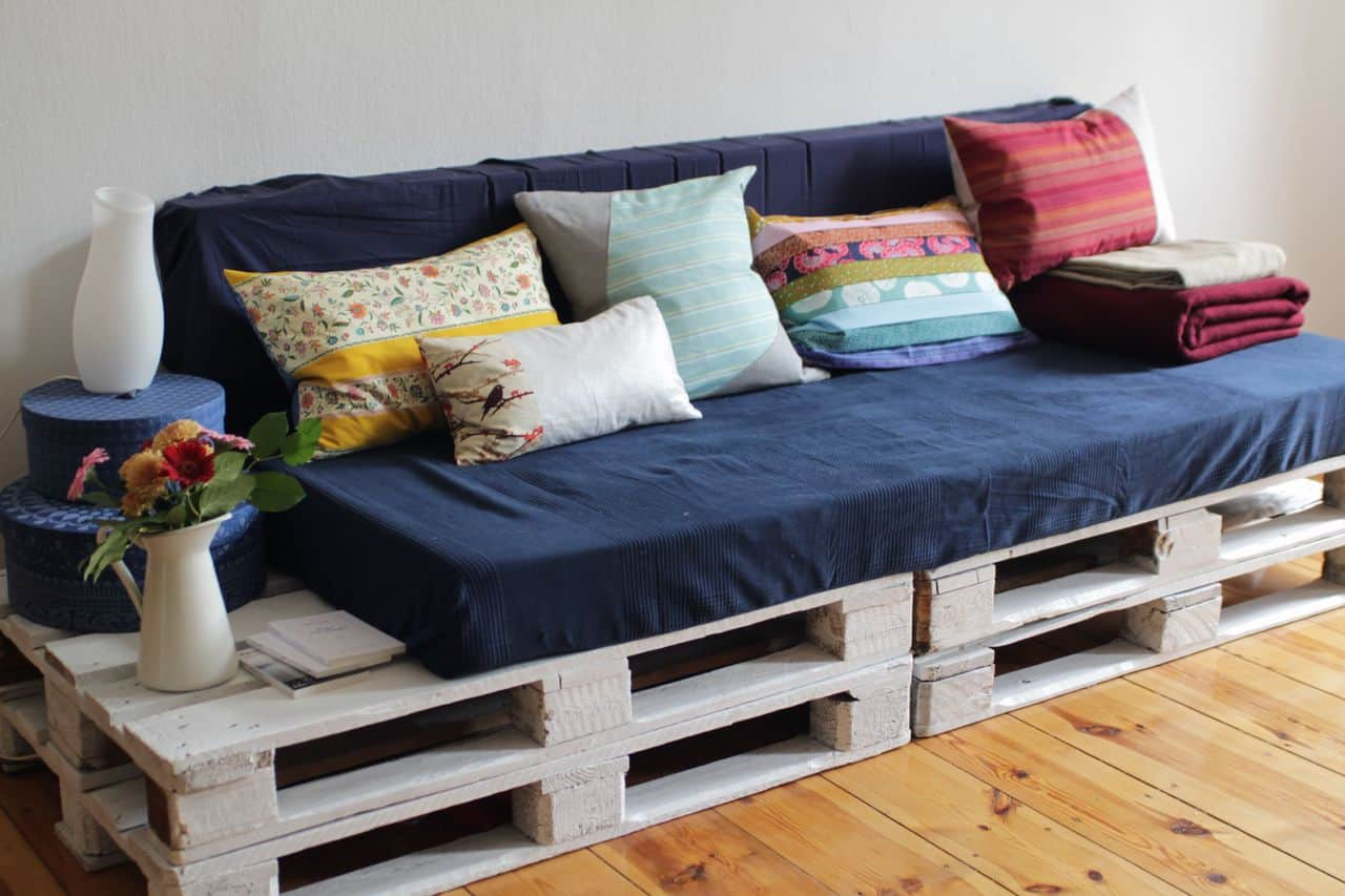 DIY Blue and White Couch