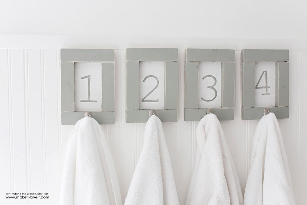 DIY Framed and Numbered Towel Rack