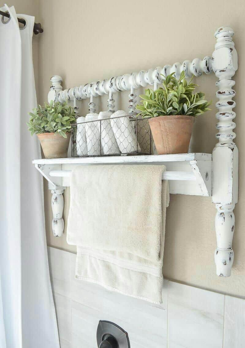 DIY Headboard Towel Holder