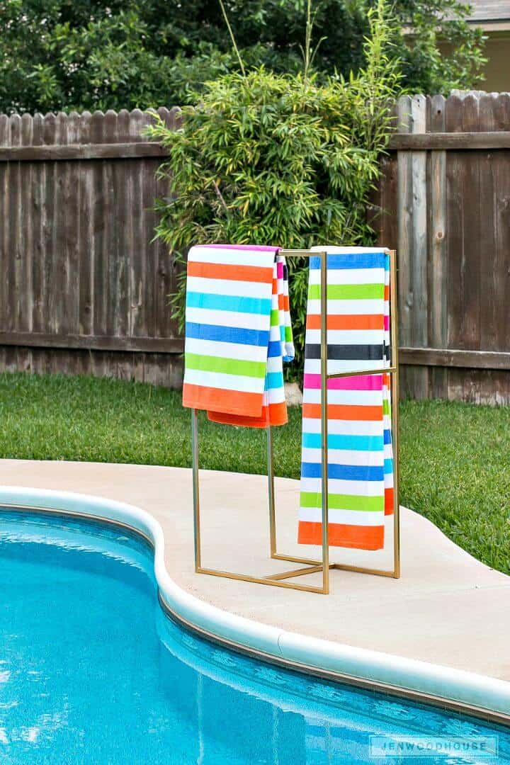 DIY Poolside Towel Rack