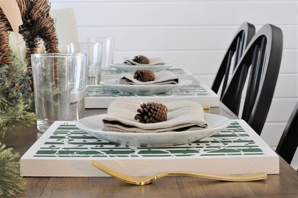 DIY Wooden Placemats with Stencils