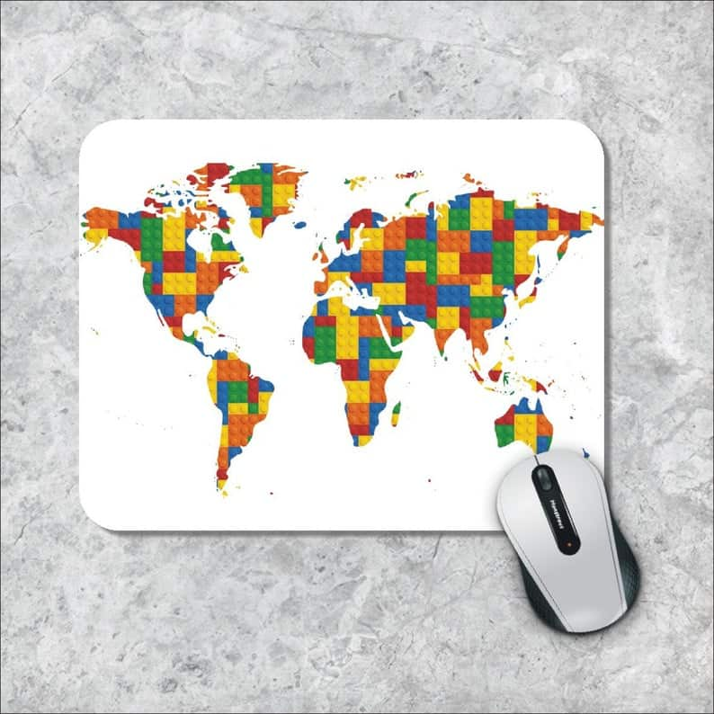 World Map Rubber Mouse Pad
