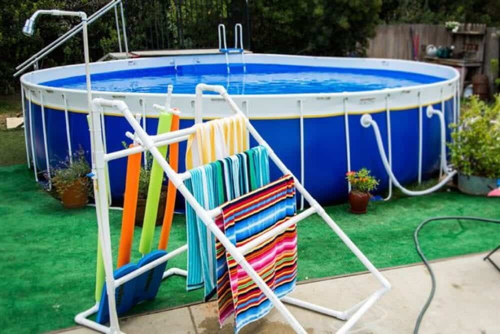 DIY Poolside PVC Towel Rack
