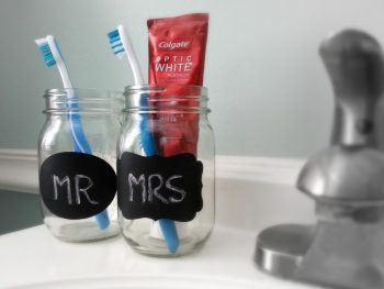 DIY Mr. and Mrs. Toothbrush Holder