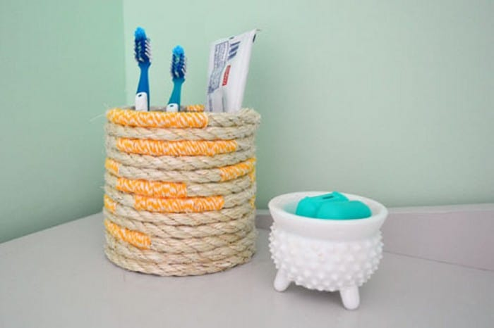 DIY Twine and Rope Toothbrush Holder