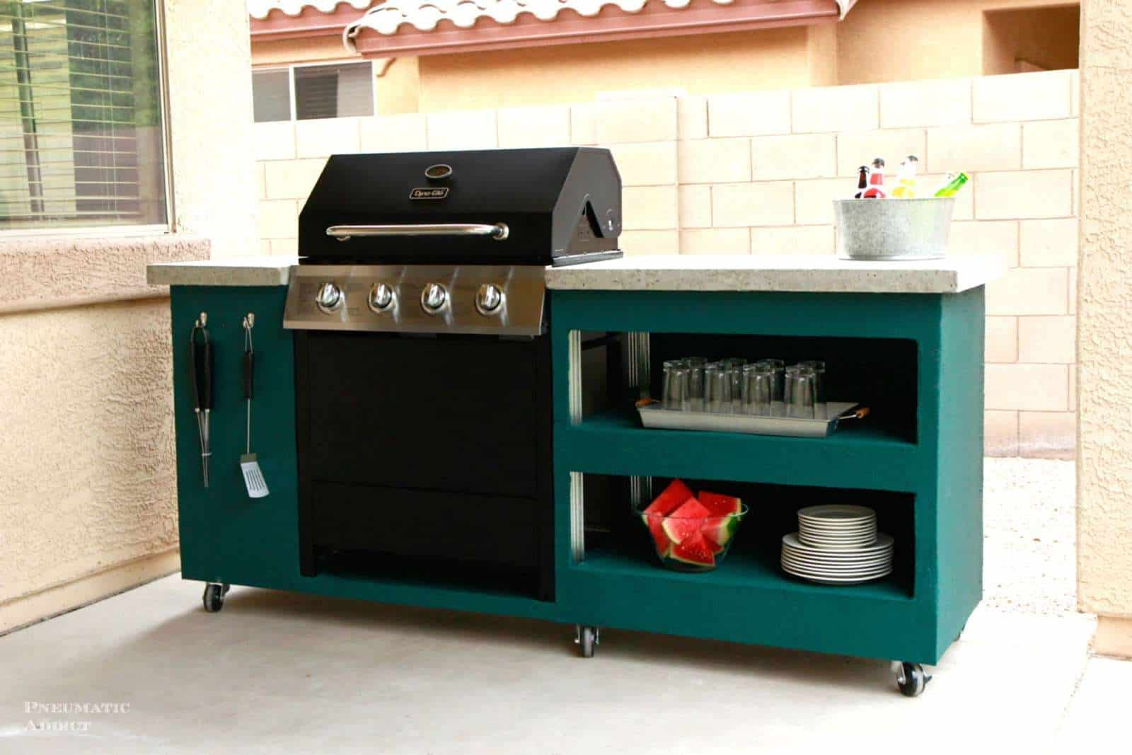 Rolling Outdoor Grill Station