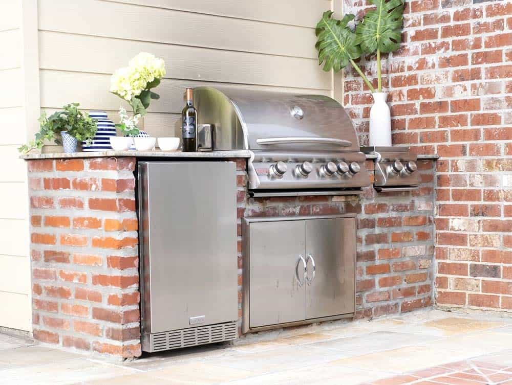 Upcycled Wood And Brick Outdoor Kitchen
